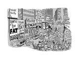 A Times Square-like streetscape displays dozens of billboards stating non-... - New Yorker Cartoon Premium Giclee Print by Brian Mclachlan
