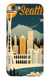 Seattle, Washington - Retro Skyline iPhone 6s Plus Case by  Lantern Press