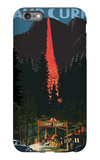 Firefall and Camp Curry - Yosemite National Park, California iPhone 6 Plus Case by  Lantern Press