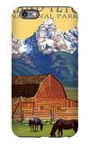 Grand Teton National Park - Barn and Mountains iPhone 6 Plus Case by  Lantern Press