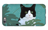 Black and White Cat with Green Eyes iPhone 6 Plus Case