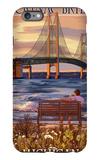 Mackinac Bridge and Sunset, Michigan iPhone 6 Plus Case by  Lantern Press