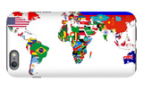 Map Of World With Flags In Relevant Countries, Isolated On White Background iPhone 6 Plus Case by  Speedfighter