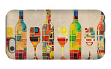 Wine Bottle and Glass Group Geometric iPhone 6 Case by  Lantern Press