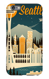 Seattle, Washington - Retro Skyline iPhone 6 Plus Case by  Lantern Press