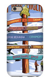 New England - Ski Areas Sign Destinations iPhone 6 Case by  Lantern Press