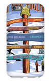New England - Ski Areas Sign Destinations iPhone 6 Plus Case by  Lantern Press