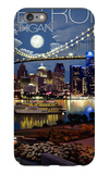 Detroit, Michigan - Skyline at Night iPhone 6 Plus Case by  Lantern Press