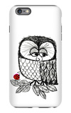Retro Black and White Owl with Ladybug iPhone 6s Plus Case