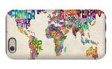 Typographic Text World Map iPhone 6 Case by Michael Tompsett