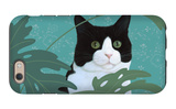 Black and White Cat with Green Eyes iPhone 6 Case