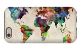 World Map Urban Watercolour iPhone 6 Case by Michael Tompsett