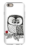 Retro Black and White Owl with Ladybug iPhone 6 Case