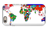 Map Of World With Flags In Relevant Countries, Isolated On White Background iPhone 6 Case by  Speedfighter