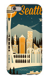 Seattle, Washington - Retro Skyline iPhone 6s Case by  Lantern Press