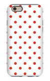 Red Polk-a-dots iPhone 6 Case by  Avalisa