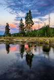 Sunset River Reflections, Gibbon River, Yellowstone National Park Photographic Print by Vincent James