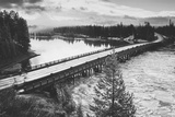 Fishing Bridge Scene in Black and White, Yellowstone National Park Photographic Print by Vincent James