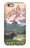 Grand Teton National Park - Moose and Mountains iPhone 6 Case by  Lantern Press