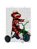 Sock Monkey on Tricycle Premium Giclee Print by  Fab Funky