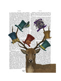 Hat Collector Deer Premium Giclee Print by  Fab Funky