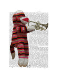 Sock Monkey Playing Trumpet Prints by  Fab Funky