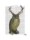 Owl with Antlers plain Art by  Fab Funky