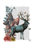 Turquoise Deer in Mushroom Forest Print by  Fab Funky