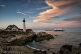 Dusk Sets in at the Portland Head Light as the Portland Ferry Passes By Photographic Print by Robbie George