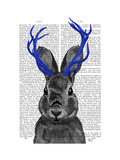 Jackalope with Blue Antlers Prints by  Fab Funky