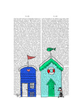 Beach Huts 2 Illustration Posters by  Fab Funky