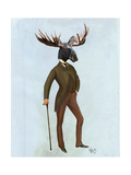 Moose in Suit Full Premium Giclee Print by  Fab Funky