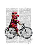 Sock Monkey on Bicycle Premium Giclee Print by  Fab Funky