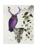 Purple Owl with Antlers Art by  Fab Funky
