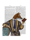 Book Reader Fox Prints by  Fab Funky