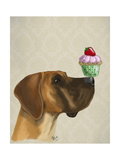 Great Dane and Cupcake Premium Giclee Print by  Fab Funky
