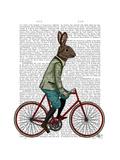 Rabbit on Bike Art by  Fab Funky