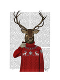 Deer in Ski Sweater Prints by  Fab Funky