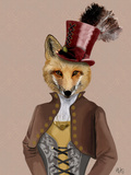 Vivienne Steampunk Fox Poster af Fab Funky