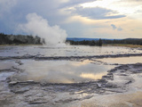 Great Fountain Geyser Erupts in Yellowstone National Park Photographic Print by Stacy Gold