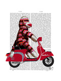 Sock Monkey on Moped Premium Giclee Print by  Fab Funky