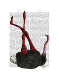 Ostrich with Striped Leggings Premium Giclee Print by  Fab Funky