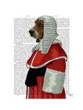 Basset Hound Judge Portrait Premium Giclee Print by  Fab Funky