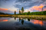 Riverside Sunset Reflections, Gibbon River, Yellowstone National Park Photographic Print by Vincent James