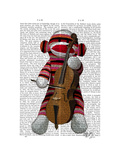 Sock Monkey and Cello Posters by  Fab Funky