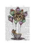 Cheshire Cat Hot Air Balloon Premium Giclee Print by  Fab Funky