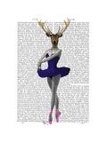 Ballet Deer in Blue Premium Giclee Print by  Fab Funky