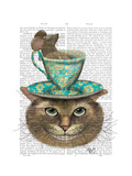 Cheshire Cat with Cup on Head Art Print Fab Funky