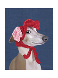 Greyhound with Red Woolly Hat Premium Giclee Print by  Fab Funky