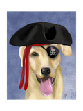 Yellow Labrador Pirate Art by  Fab Funky